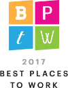 A logo for 2017 Best Places to Work from Milwaukee Business Journal.